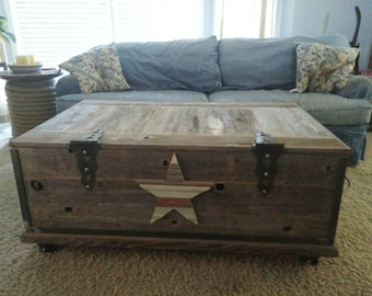 Barn wood chest coffee table