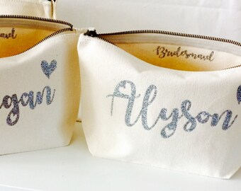 Personalised makeup bag wedding favours bridesmaid gift cosmetic bag Christmas gift Birthday gift