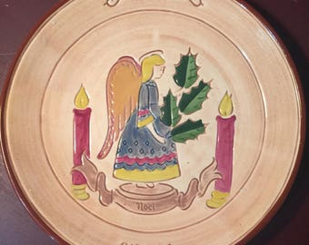 Vintage 1970 Pennsbury Pottery Noel Angel collectible plate First Edition signed by artist A.R. hand painted with plate hanger bracket