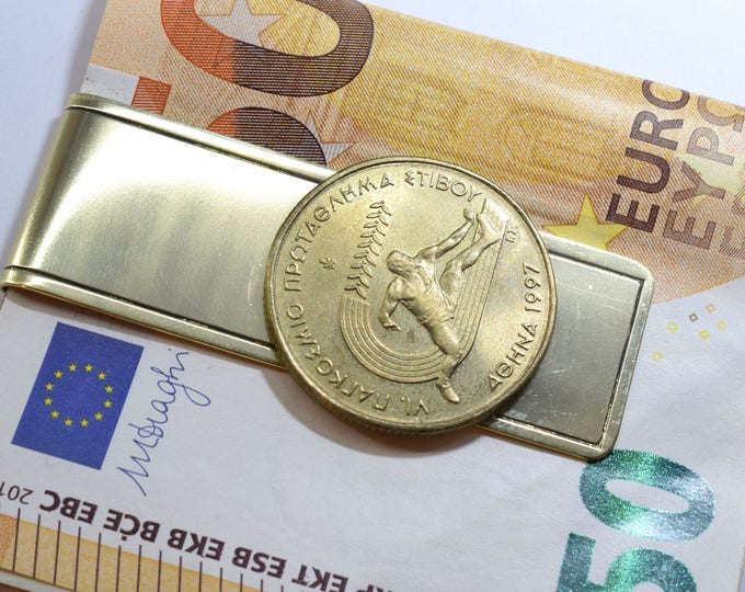 Coin Money Clip, Greek Coin, 1997, World Athletics Championship, Coin Clip, Men's Accessory, Men's Gifts, Men's Wallet, Anniversary 1997
