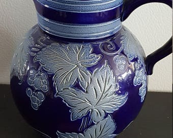Gres d' Alsace  Betschdorf Cobalt Salt Glaze Pitcher Grape & Leaf