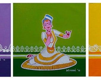 DANCE MASTI:  Original Creative Indian Pop figurative acrylic painting, Devyani Gokhale, Modern home decor furnishing ready to hang fine art