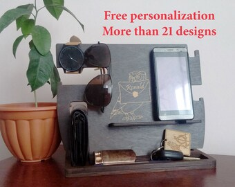 Personalization Charging Station Organizer Docking Station Men Docking Station Dad Organizer Wood Docking Station Wooden stand for iphone