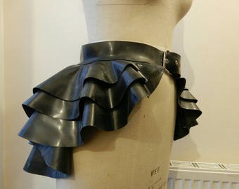 Belted latex 3 layered peplum skirt