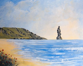Original painting of Sandwood Bay, Scottish Highlands, Acrylic Painting, supplied with mount, great present, painting size is 330mm x 230mm