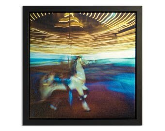 "Fine Art Photography ""Carousel"" Framed Stretched Canvas"