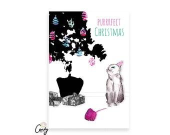Cat Card, Cat Christmas Card, Cat Lover, Christmas Tree, Cat Greeting Card, Cute Cat Card, Xmas Card