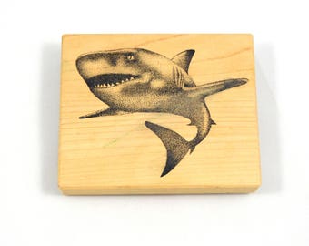 Shark Rubber Stamp, Used, Sea Life stamp, Ocean, Fish, Marine Life, Great White Shark, Mounted Stamp