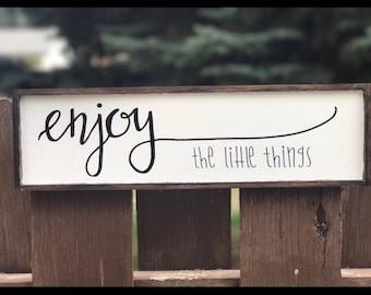 Enjoy the little things wood sign | enjoy wood sign wall decor | farmhouse style wood sign | farmhouse style decor
