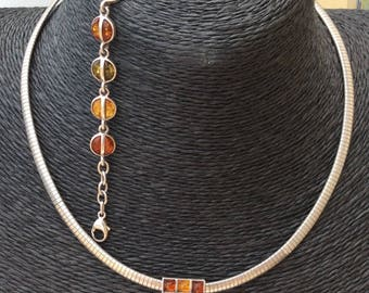 Stunning Three Coloured Amber and Hallmarked 925 Silver Necklace and Bracelet Set.