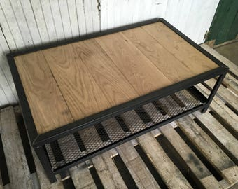 Industrial furniture oak coffee table