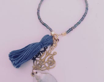 SALE handmade glass bead bracelet tassel beachy boho one of a kind FLASH SALE