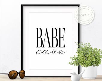 Babe Cave, Printable Wall Art, Home Office Wall Art, Scandinavian Poster, Modern Black Typography, Bedroom Decor, Nordic Style Digital Print