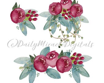 INSTANT DOWNLOAD 3 fall burgandy floral watercolored florals