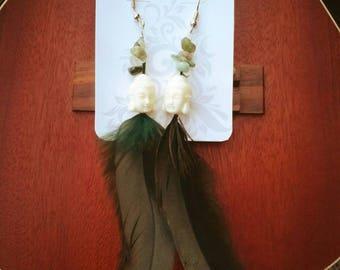 White Buddha Feather Earrings