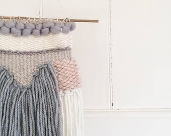 Dusky Grey, Cream and Pink Woven Wall Hanging