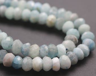 5x8mm AA Aquamarine Faceted Rondelle Beads,Natural Aquamarine Beads,15 inches one starand