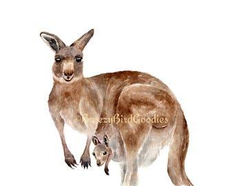 Kangaroo and Joey Print, Watercolour Kangaroo, Kangaroo Mum and Baby Joey, Australian Marsupial Animal Illustration, Wildlife Animal Art