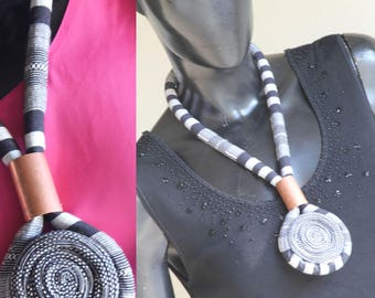 Bold in Black and White! African Fabric Necklace, Statement piece, Ankara Necklace