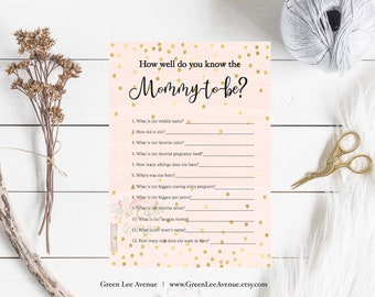 Pink Gold Glitter How Well Do You Know Mom-to-Be, Baby Shower Game, Gold Baby Shower, Printable, Instant Download. Baby Girl, gla0021