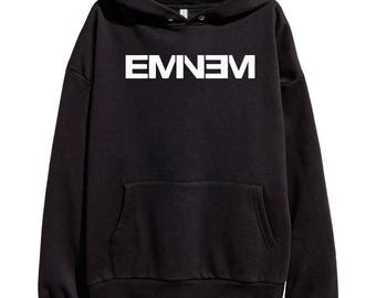 Eminem White Logo Hoodie Classic Hip Hop Rap Vintage Style Sweatshirt Revival Slim Shady Records Aftermath Entertainment Detroit