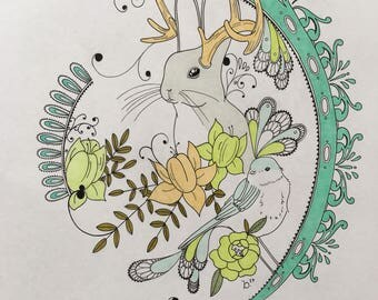 Original Jackalope drawing. Quirky piece. 14x17in