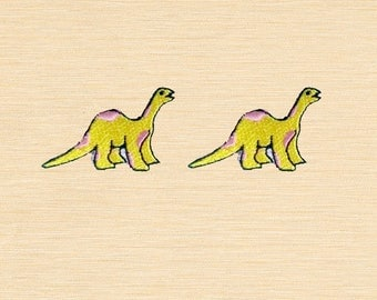 Set of 2 pcs Mini Yellow Dinosaur Pink Dot Iron On Patches Sew On Appliques