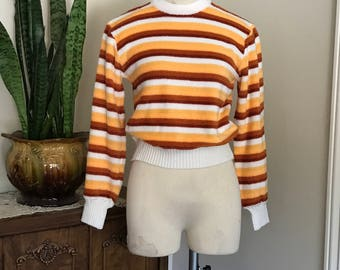 Vintage 1970's  Susie's Casuals Pullover Stripe sweater / small / medium/ boho / hippy / retro/ hippy
