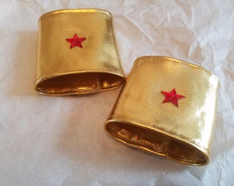 Girls Gold Superhero Wrist Band-Wonder Woman Super Girl Inspired-Great for Party Favors, Birthday Parties, Pretend Dress Up and Capes