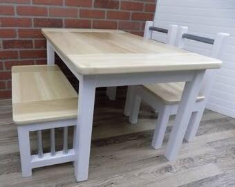 Kids Wood Table Set / Farmhouse Table / Activity Table