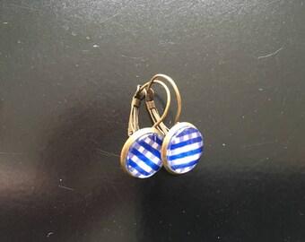 Earrings retro new blue gingham