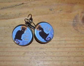 Earrings retro black cat