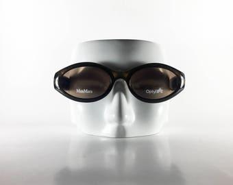 MAXMARA Vintage Sunglasses Unisex Gold/Brown Plastic Oval 2000 MAXS55Q-2