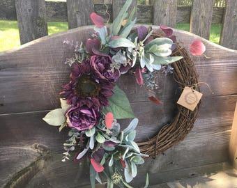 Fall wreath sunflower wreath purple wreath year round wreath door wreath Mother's Day wreath Housewarmomg wreath door wreath door decor