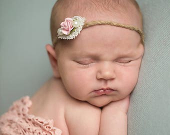 Rose and Pearl Twine Newborn Tieback