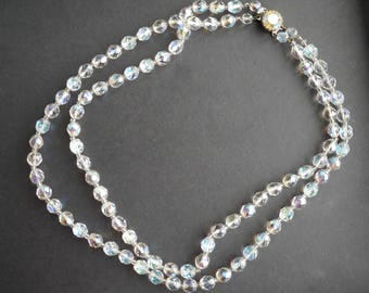 Double strand vintage aurora borealis glass crystal beaded necklace