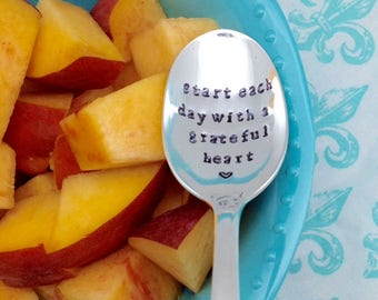 Start each day with a grateful heart, handstamped vintage coffee spoon