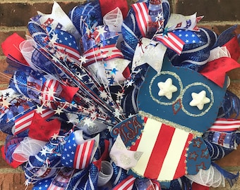 Patriotic Owl 4th of July wreath