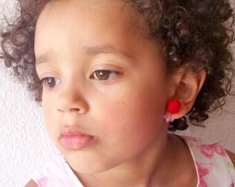 Red Clip on Earrings for Girls - Girls Dress Up Earrings - Gifts Under 5 - Non Pierced Earrings - Plastic Clip On Earrings - Play Dress Up
