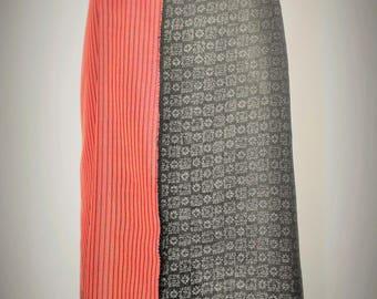 Silk Kimono Fabric Dress, Black+Pink Dress, Bi-color asymmetric dress , One of a Kind midi dress, Spaghetti strap dress, Slip-on camisole