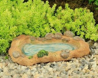 Duck Pond with Water Effect, Stone Pond, Village Pond, Fairy Garden Pond, Fairy Garden Duck Pond, Fairy Garden Accessory, The Fairy Garden