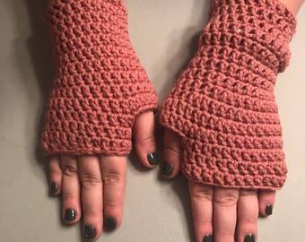 Mauve Fingerless Texting Gloves