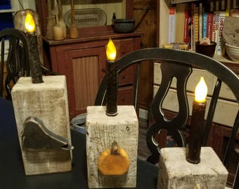 Set of 3 handmade candle holders with ,crow ,pumpkin and Candy Corn