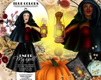 Halloween Clip art Witch Clip Art Pumpkin Clipart Crystal Ball Clipart Halloween Tarot Afro American Clipart African Witch Clip art Lantern