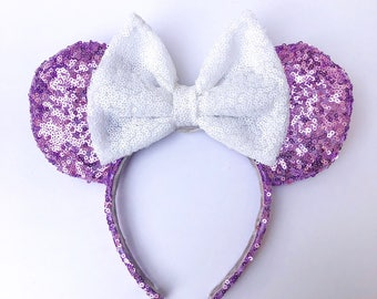 Lavender & White Sequin Ears