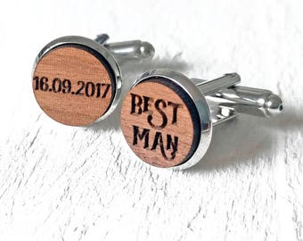 Best Man Cufflinks - Best Man Gifts - Groomsmen Gifts - Usher Cufflinks - Custom Engraved Wood Wedding Cufflinks