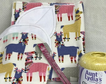 Hemstitch kit flannel baby blanket, receiving blanket, swaddling crochet
