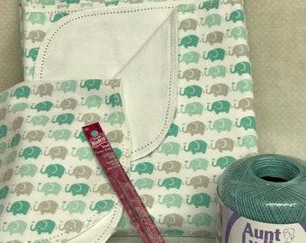 Hemstitched kit flannel receiving baby blanket crochet