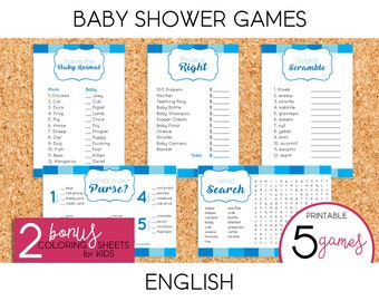 Boy Baby Shower Games - PRINTABLE (English)