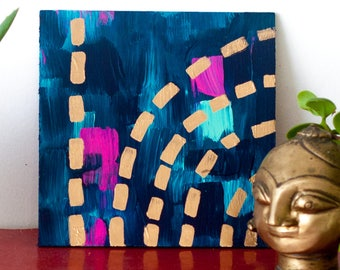 Abstract painting on plywood, original wall decor, acrylic and gold leaf: 'Misty'